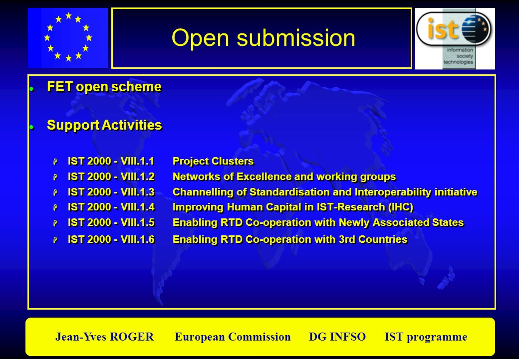 Open submission FET open scheme Support Activities
