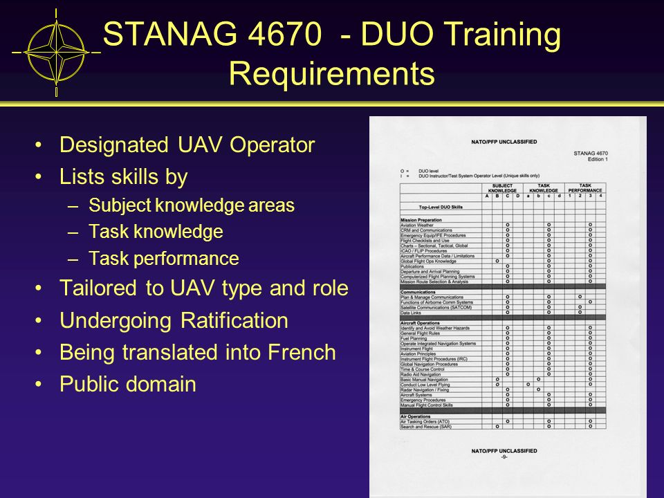 STANAG 4670 - DUO Training Requirements