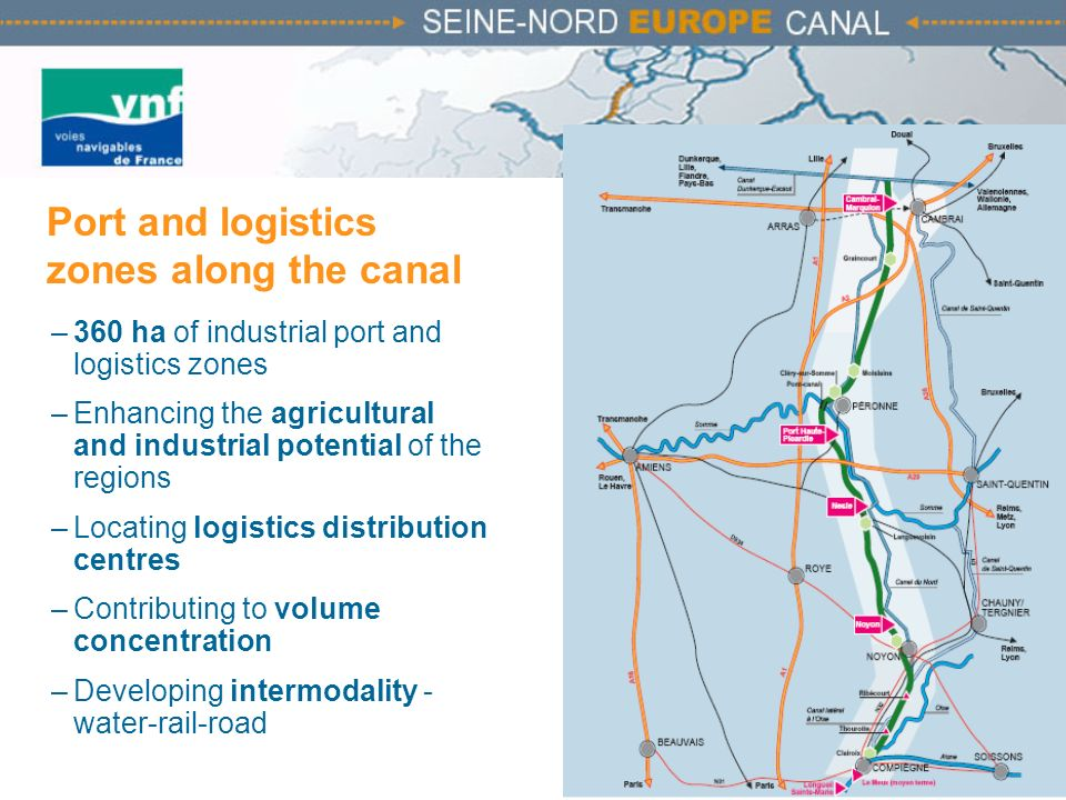 Port and logistics zones along the canal