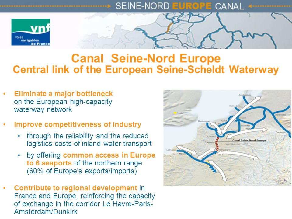 Canal Seine-Nord Europe Central link of the European Seine-Scheldt Waterway