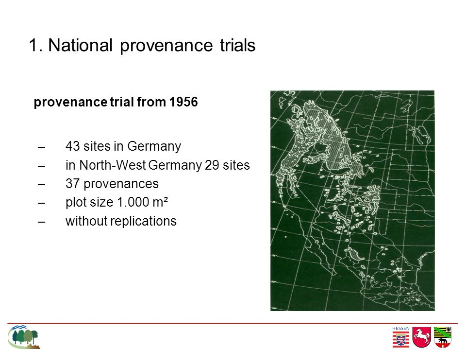 1. National provenance trials