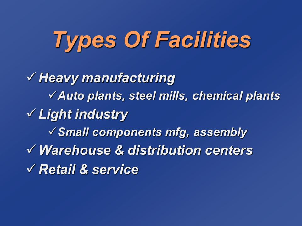 Types Of Facilities Heavy manufacturing Light industry