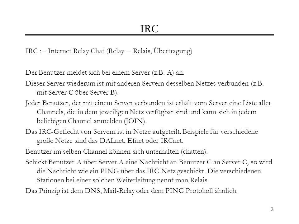 IRC IRC := Internet Relay Chat (Relay = Relais, Übertragung)