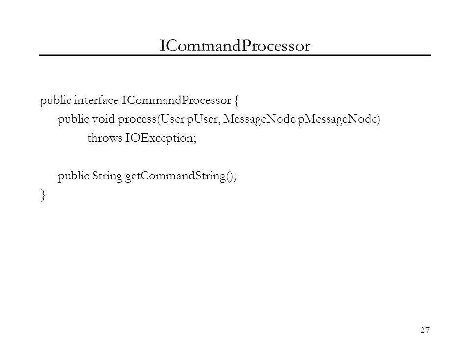 ICommandProcessor public interface ICommandProcessor {
