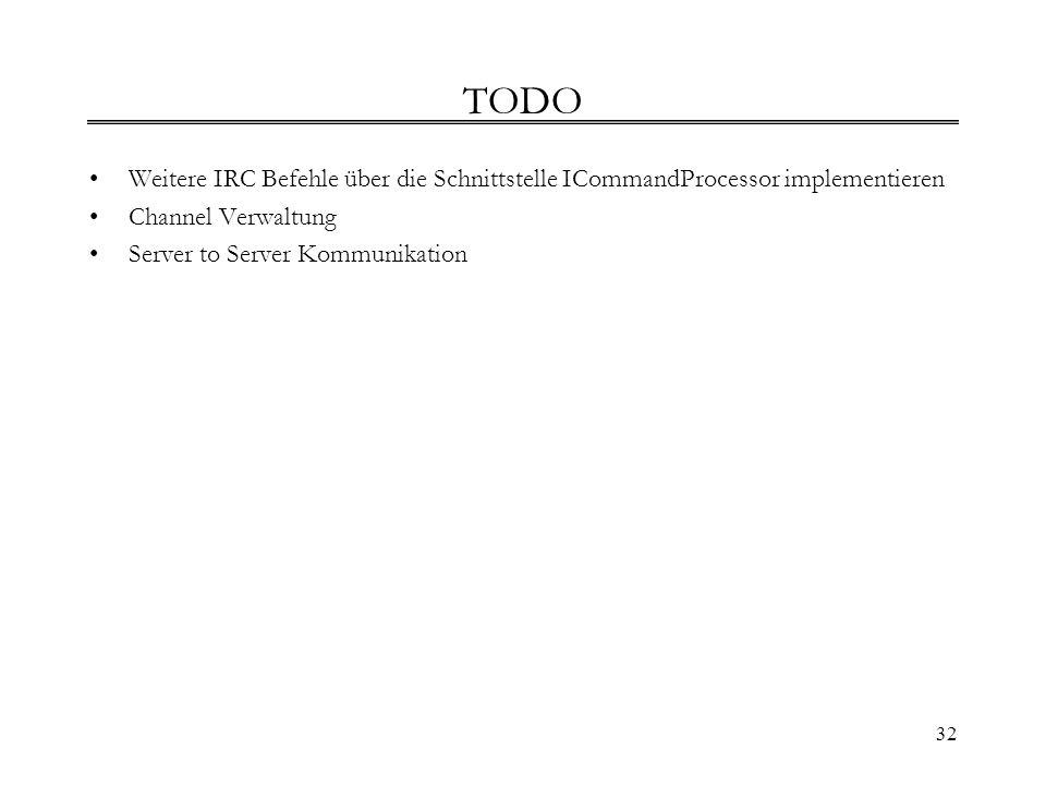 TODO Weitere IRC Befehle über die Schnittstelle ICommandProcessor implementieren. Channel Verwaltung.