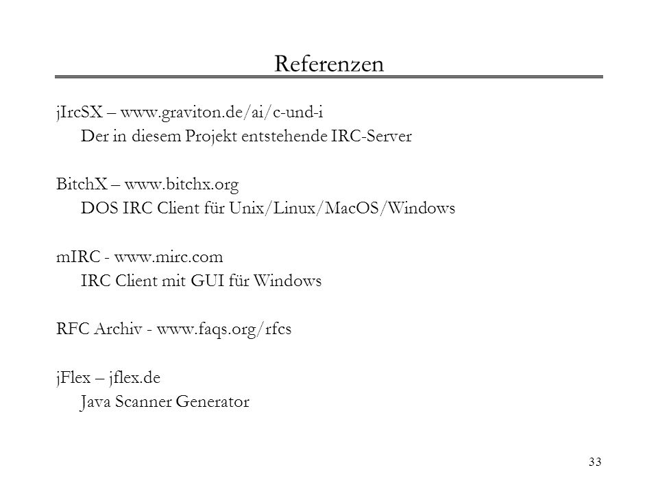 Referenzen jIrcSX – www.graviton.de/ai/c-und-i