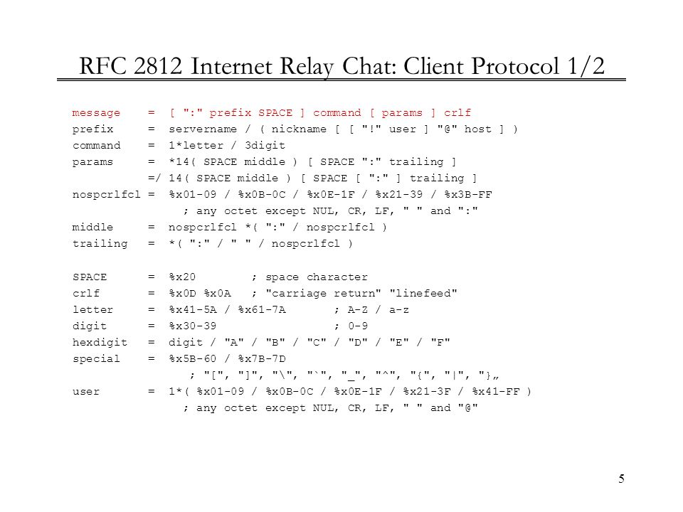 RFC 2812 Internet Relay Chat: Client Protocol 1/2