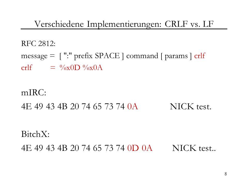 Verschiedene Implementierungen: CRLF vs. LF