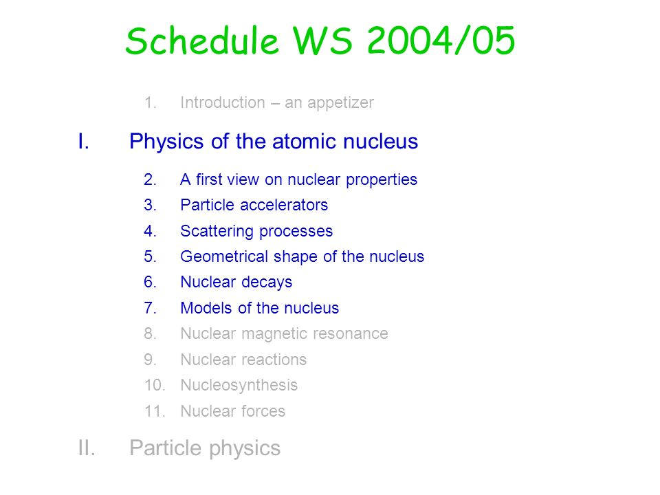 Schedule WS 2004/05 Physics of the atomic nucleus Particle physics