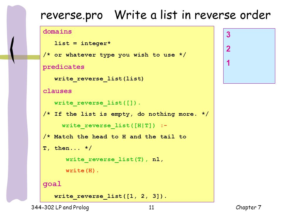 reverse.pro Write a list in reverse order