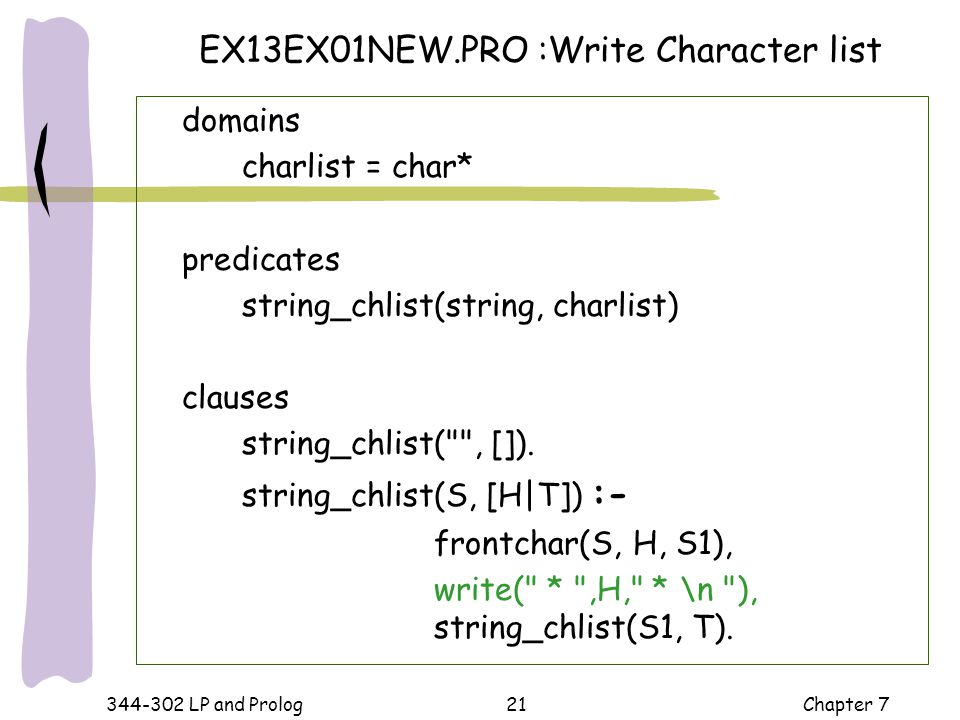 EX13EX01NEW.PRO :Write Character list