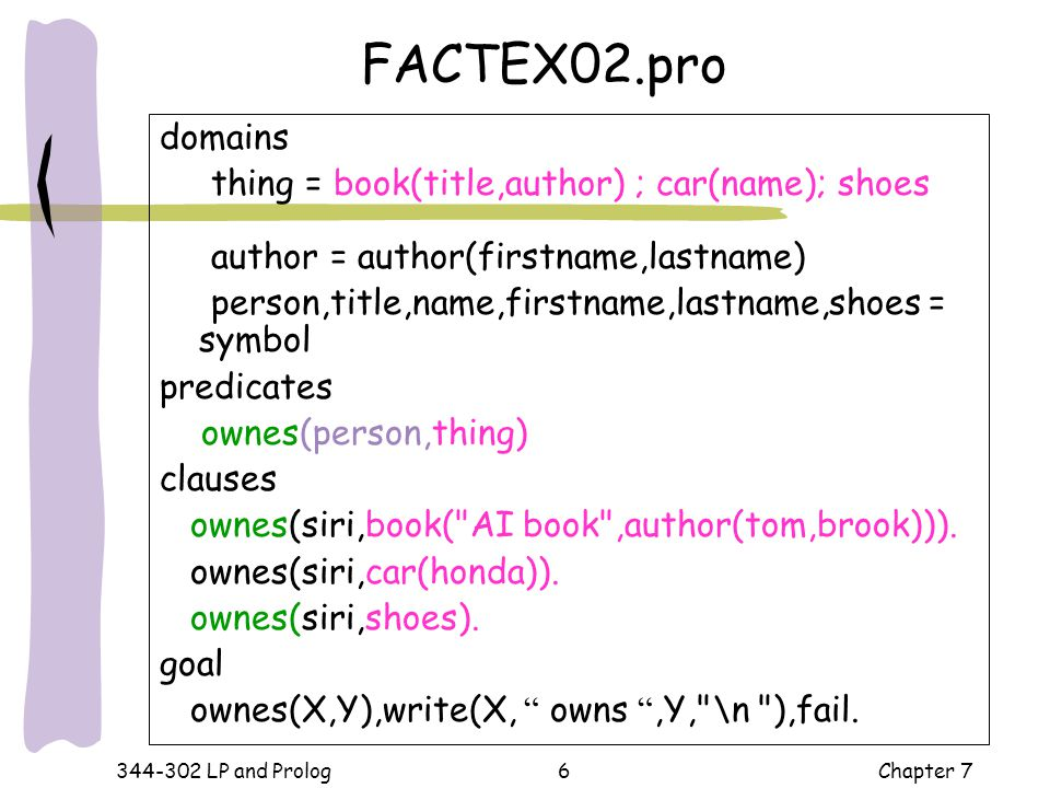 FACTEX02.pro domains thing = book(title,author) ; car(name); shoes