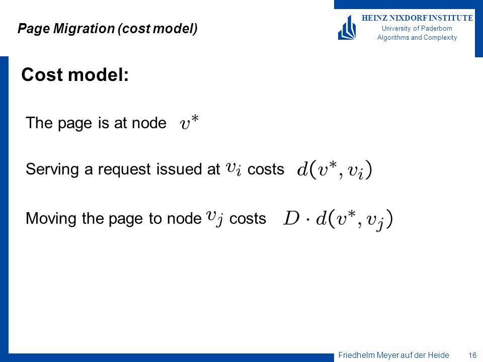 Page Migration (cost model)