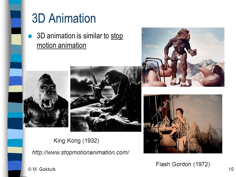 3D Animation 3D animation is similar to stop motion animation