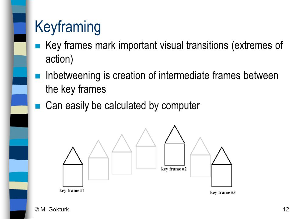 Keyframing Key frames mark important visual transitions (extremes of action) Inbetweening is creation of intermediate frames between the key frames.
