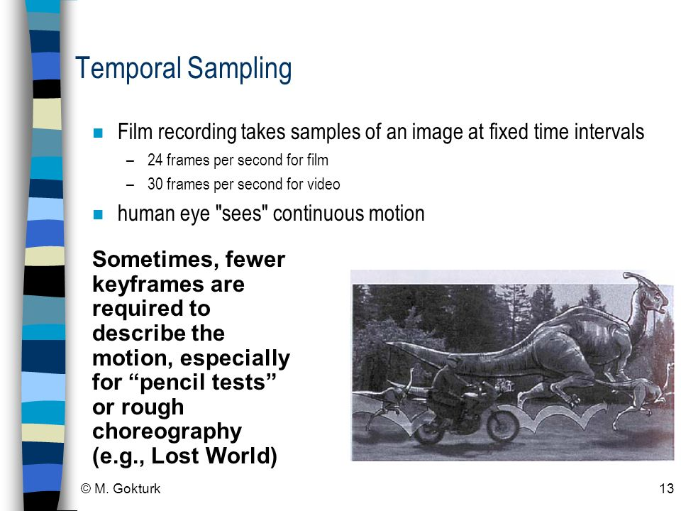 Temporal Sampling Film recording takes samples of an image at fixed time intervals. 24 frames per second for film.