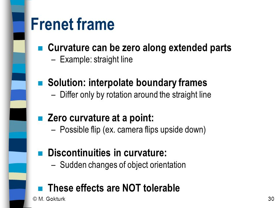 Frenet frame Curvature can be zero along extended parts