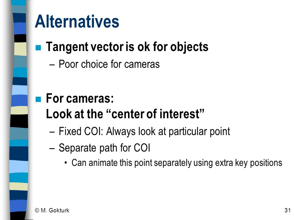 Alternatives Tangent vector is ok for objects