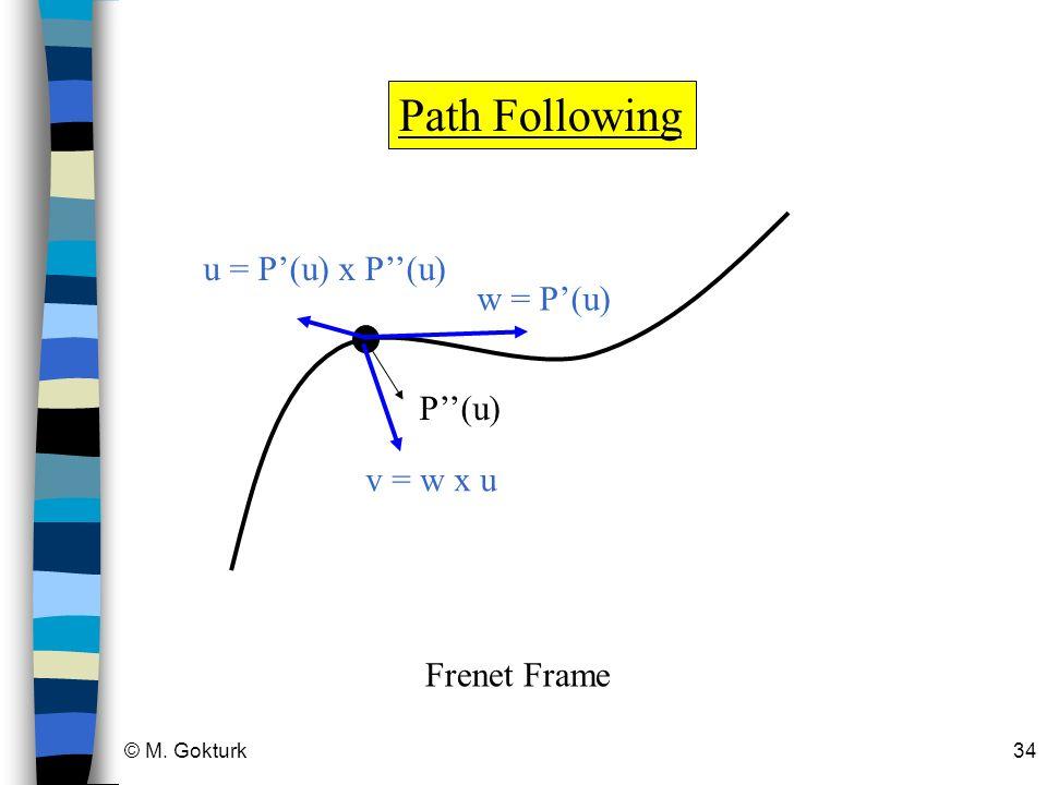 Path Following u = P'(u) x P''(u) w = P'(u) P''(u) v = w x u