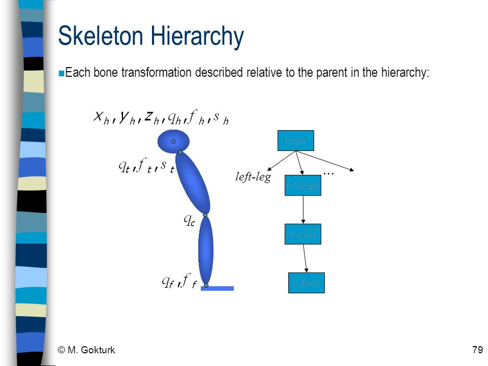 Skeleton Hierarchy Each bone transformation described relative to the parent in the hierarchy: hips.