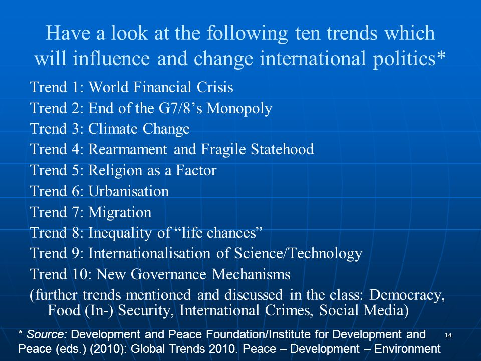 Have a look at the following ten trends which will influence and change international politics*