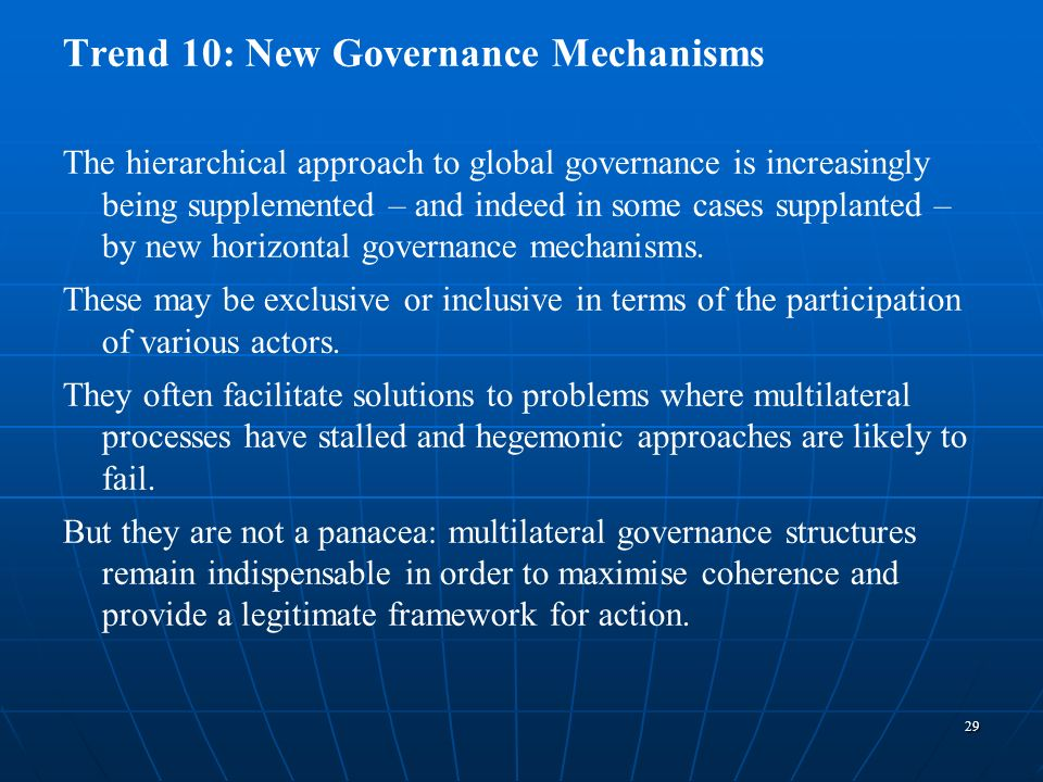 Trend 10: New Governance Mechanisms