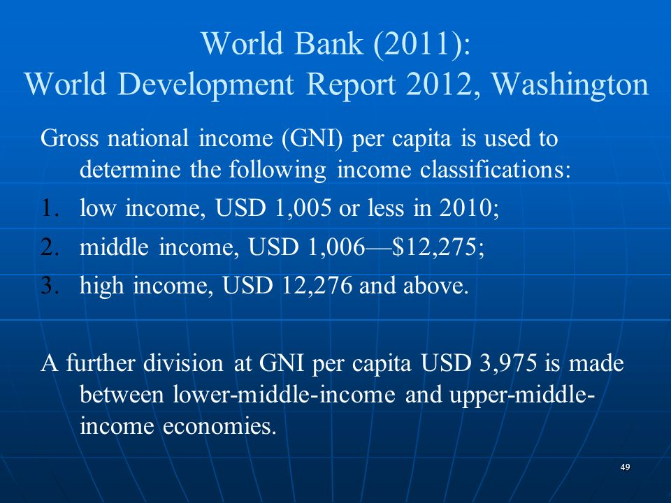 World Bank (2011): World Development Report 2012, Washington