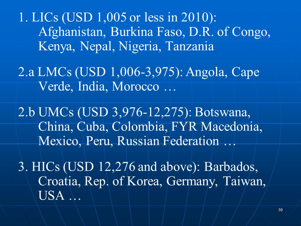 1. LICs (USD 1,005 or less in 2010): Afghanistan, Burkina Faso, D. R