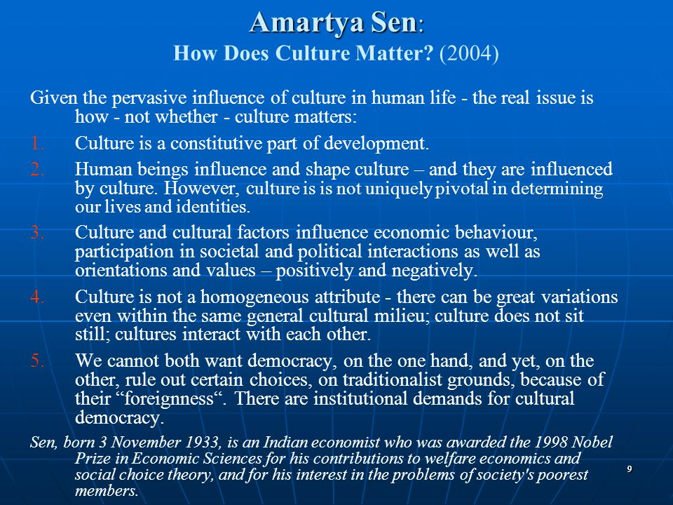 Amartya Sen: How Does Culture Matter (2004)