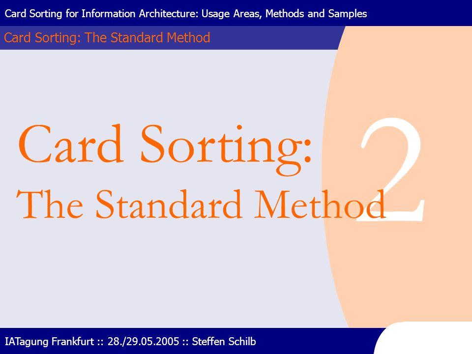 2 Card Sorting: The Standard Method Card Sorting: The Standard Method