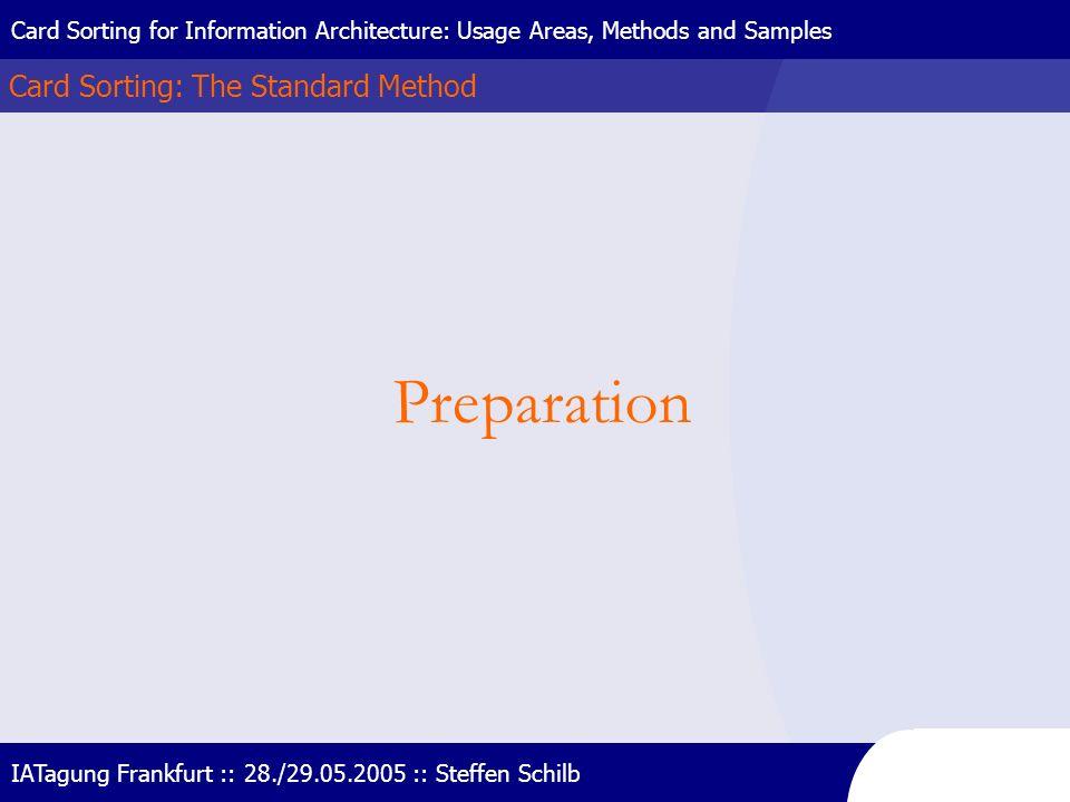 Preparation Card Sorting: The Standard Method