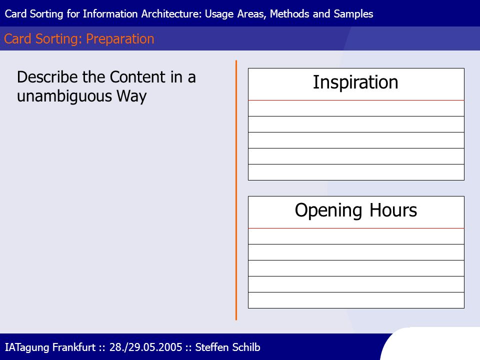 Inspiration Opening Hours Describe the Content in a unambiguous Way