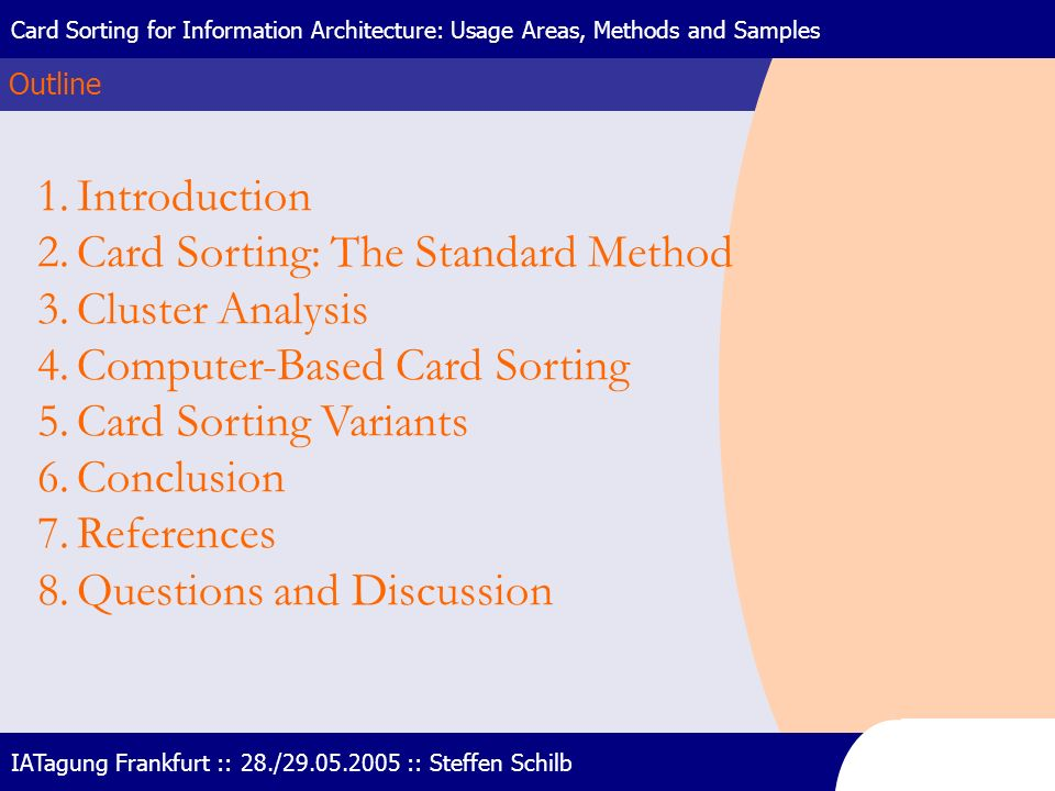 Card Sorting: The Standard Method Cluster Analysis