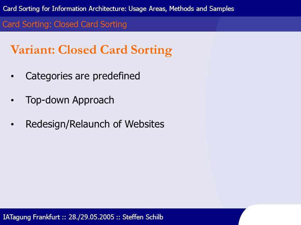 Variant: Closed Card Sorting