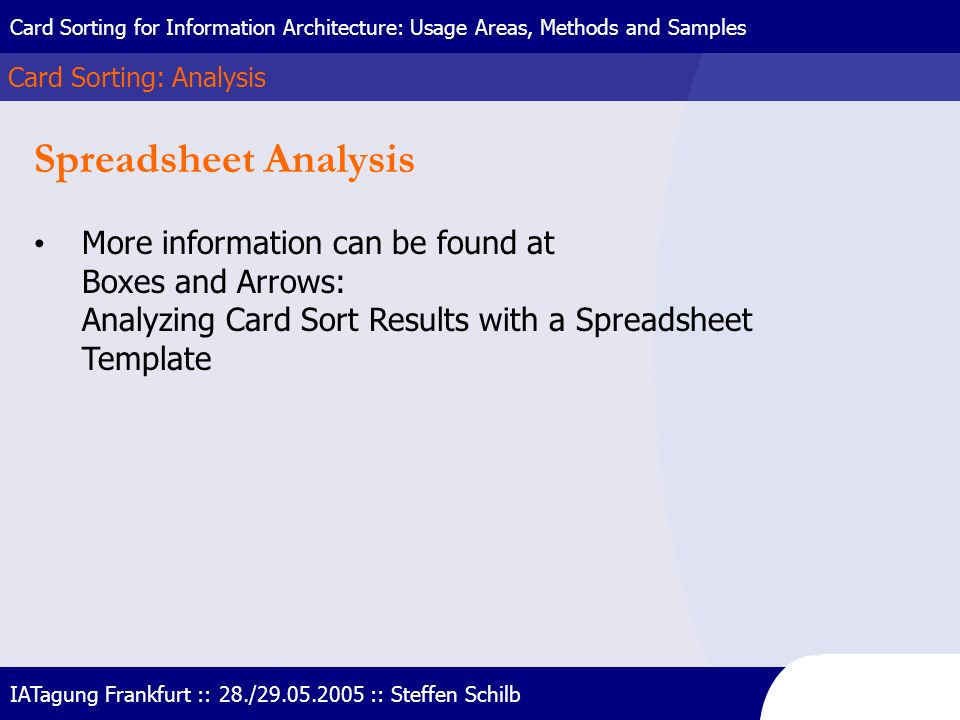 Spreadsheet Analysis More information can be found at