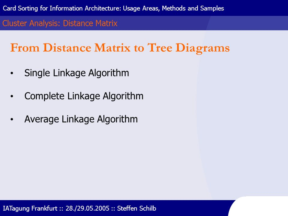 From Distance Matrix to Tree Diagrams