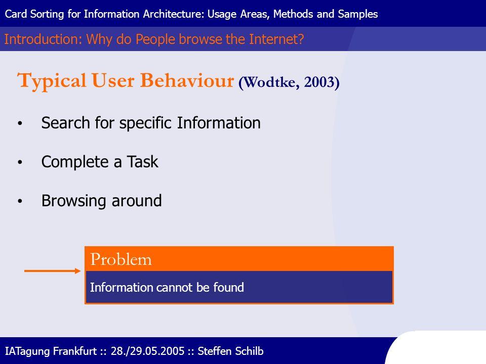 Typical User Behaviour (Wodtke, 2003)