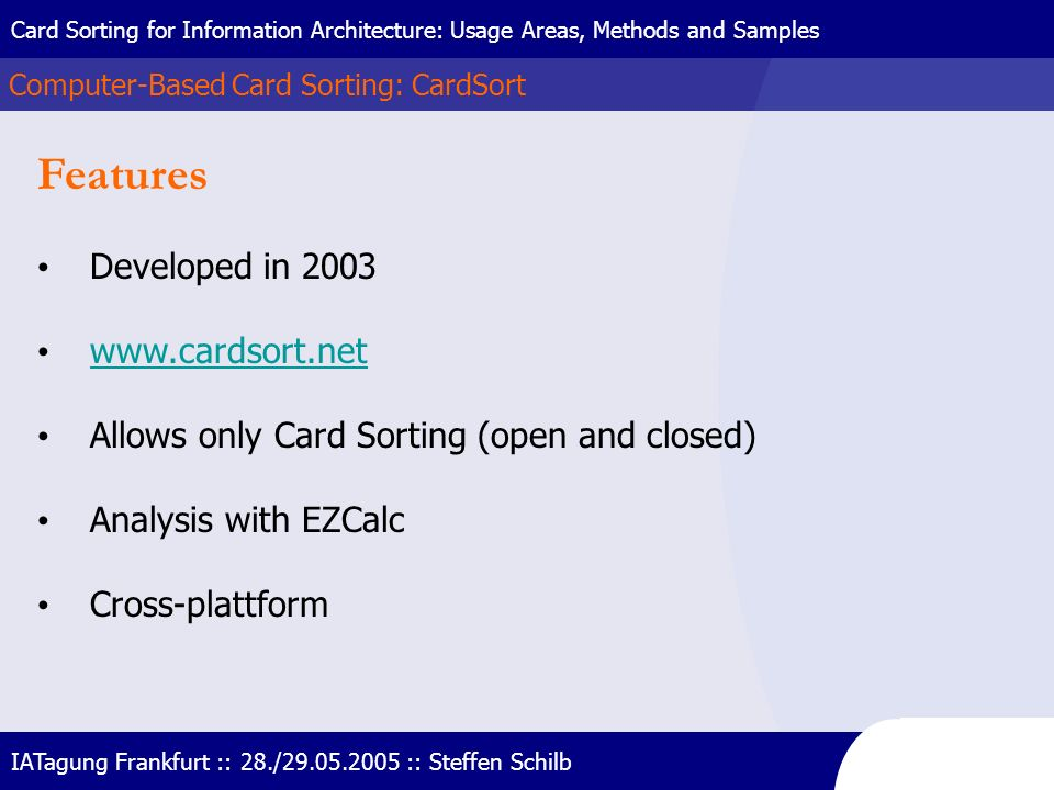 Features Developed in 2003 www.cardsort.net