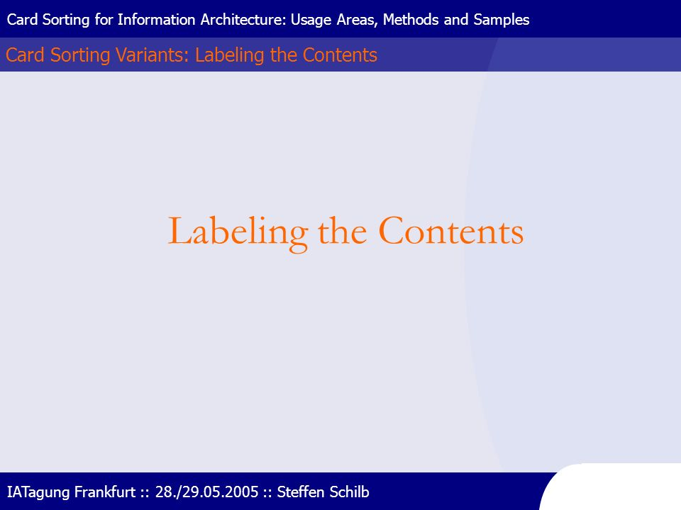 Labeling the Contents Card Sorting Variants: Labeling the Contents