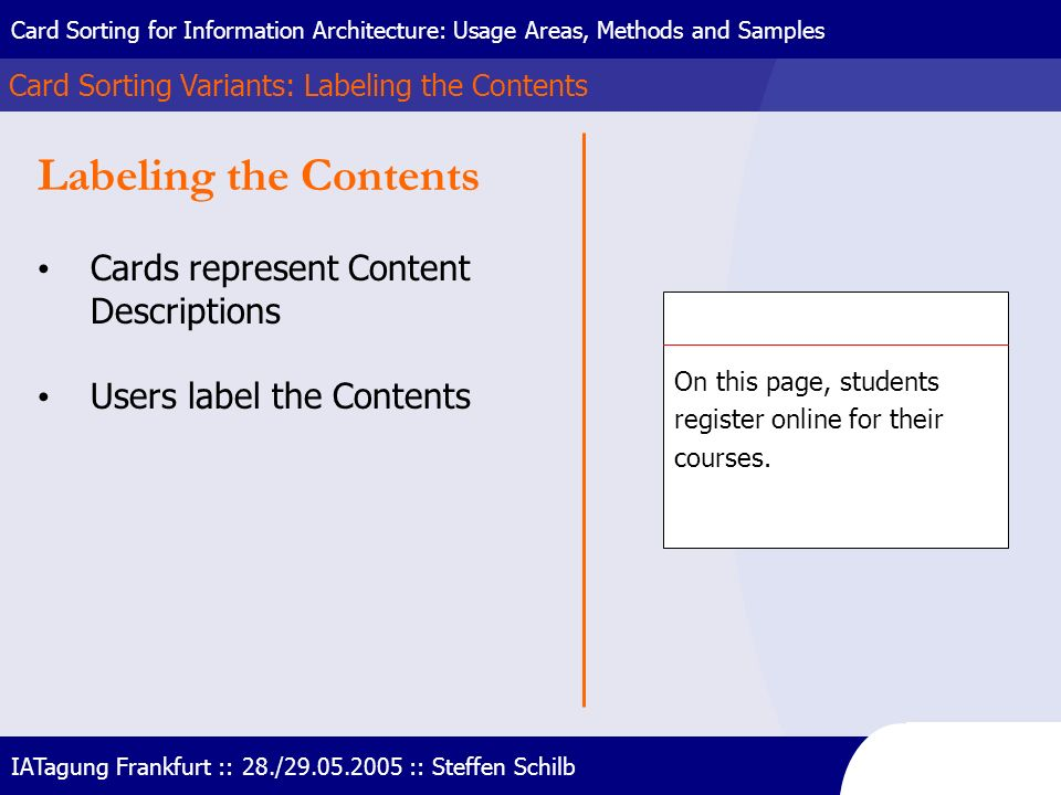 Labeling the Contents Cards represent Content Descriptions