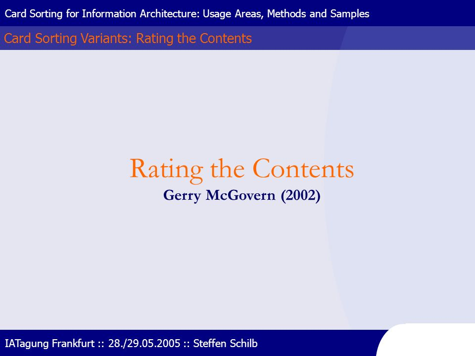 Rating the Contents Gerry McGovern (2002)