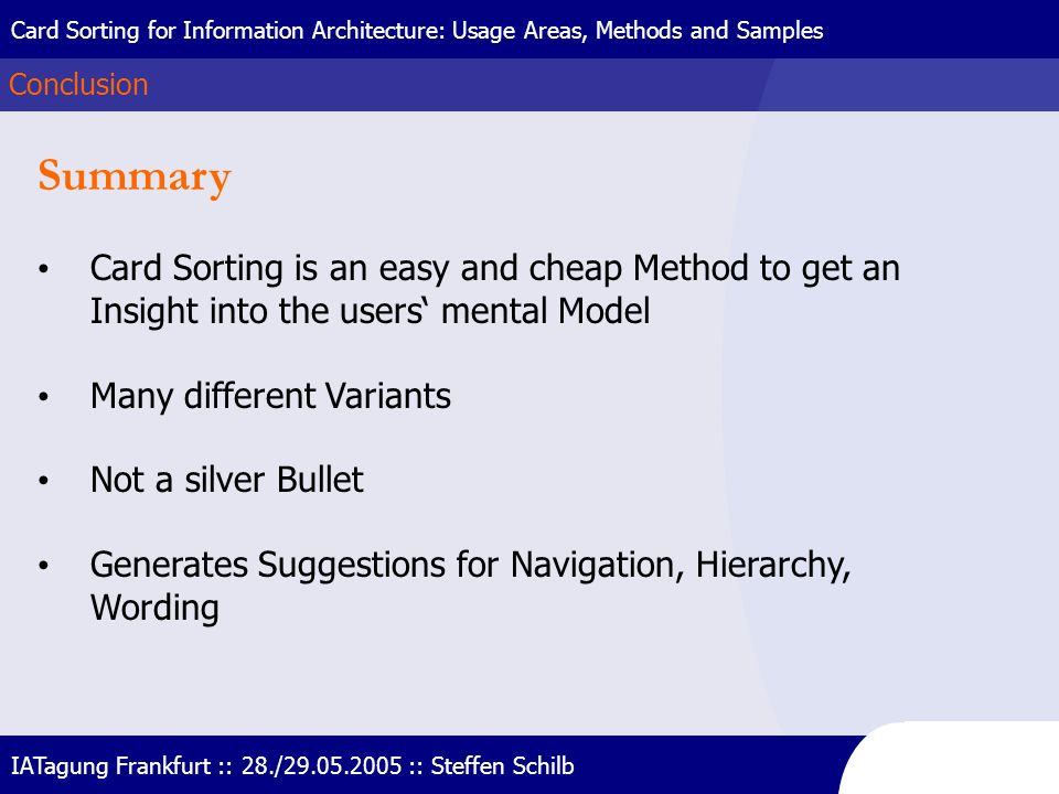 Card Sorting for Information Architecture: Usage Areas, Methods and Samples