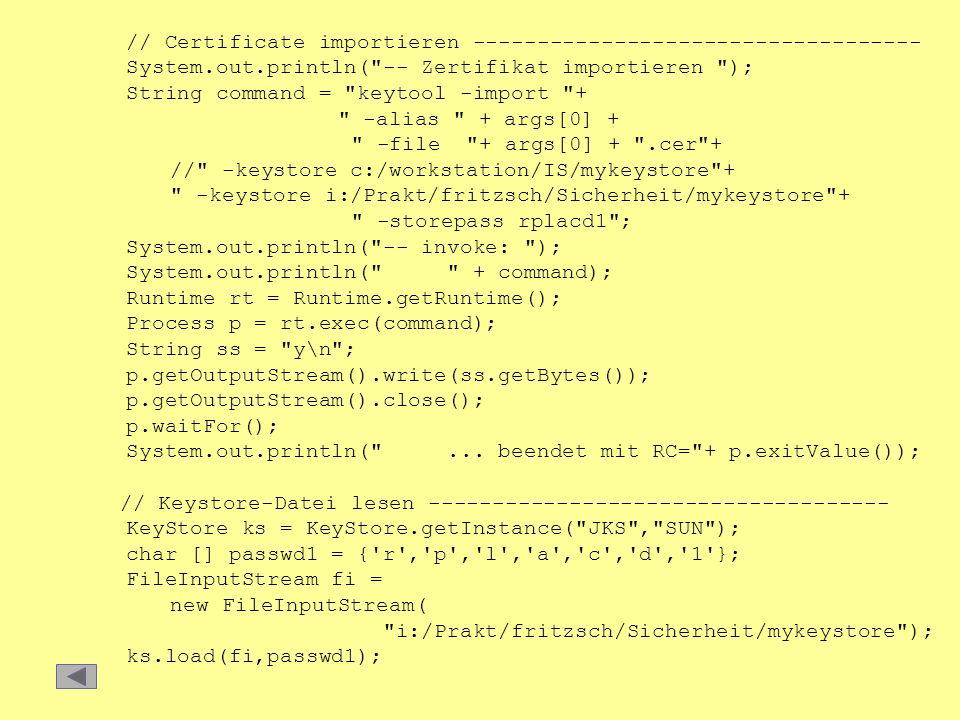 // Certificate importieren -----------------------------------