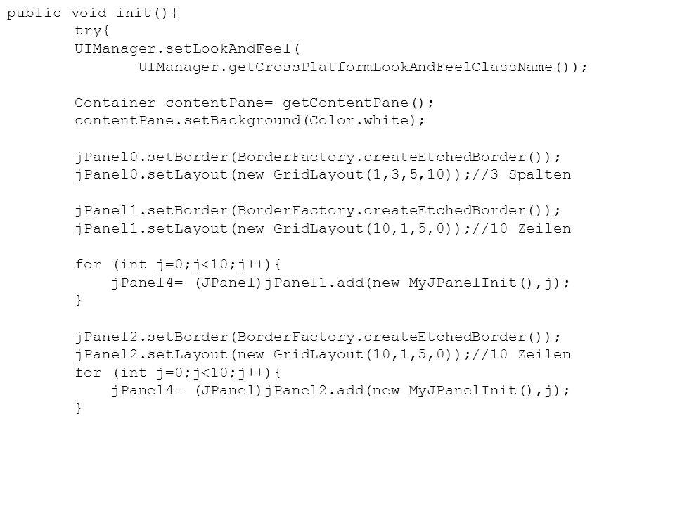 public void init(){ try{ UIManager.setLookAndFeel( UIManager.getCrossPlatformLookAndFeelClassName());