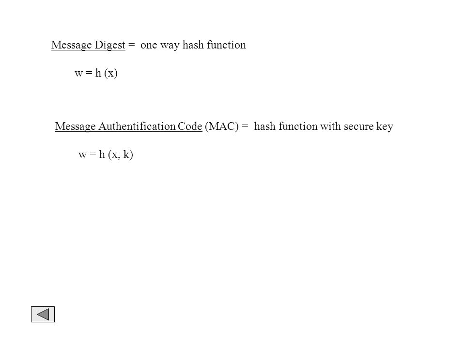 Message Digest = one way hash function