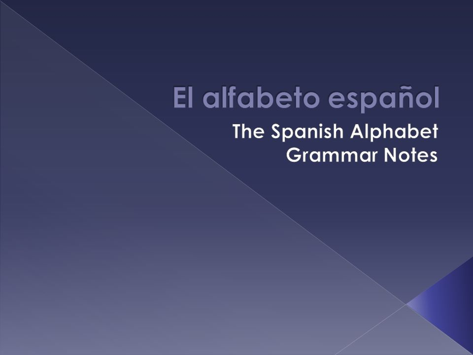 The Spanish Alphabet Grammar Notes
