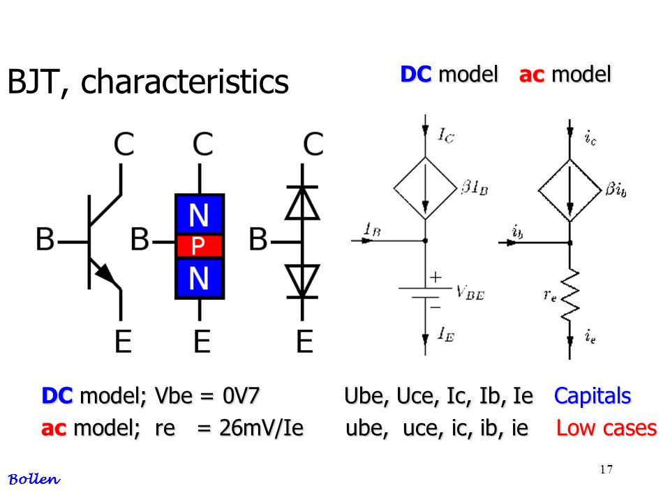 BJT, characteristics DC model ac model