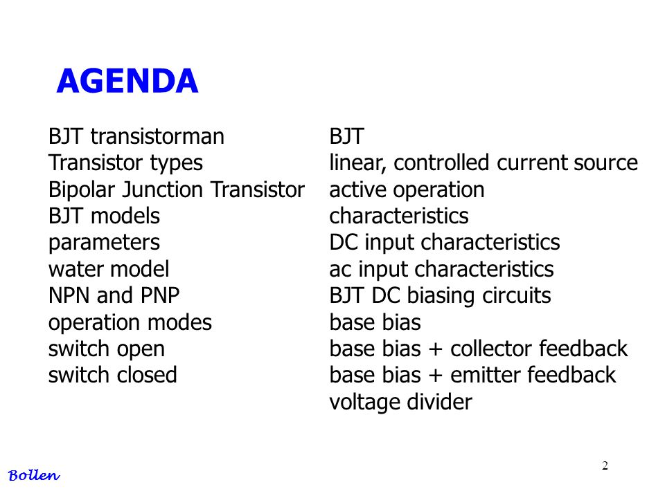 AGENDA BJT transistorman Transistor types Bipolar Junction Transistor