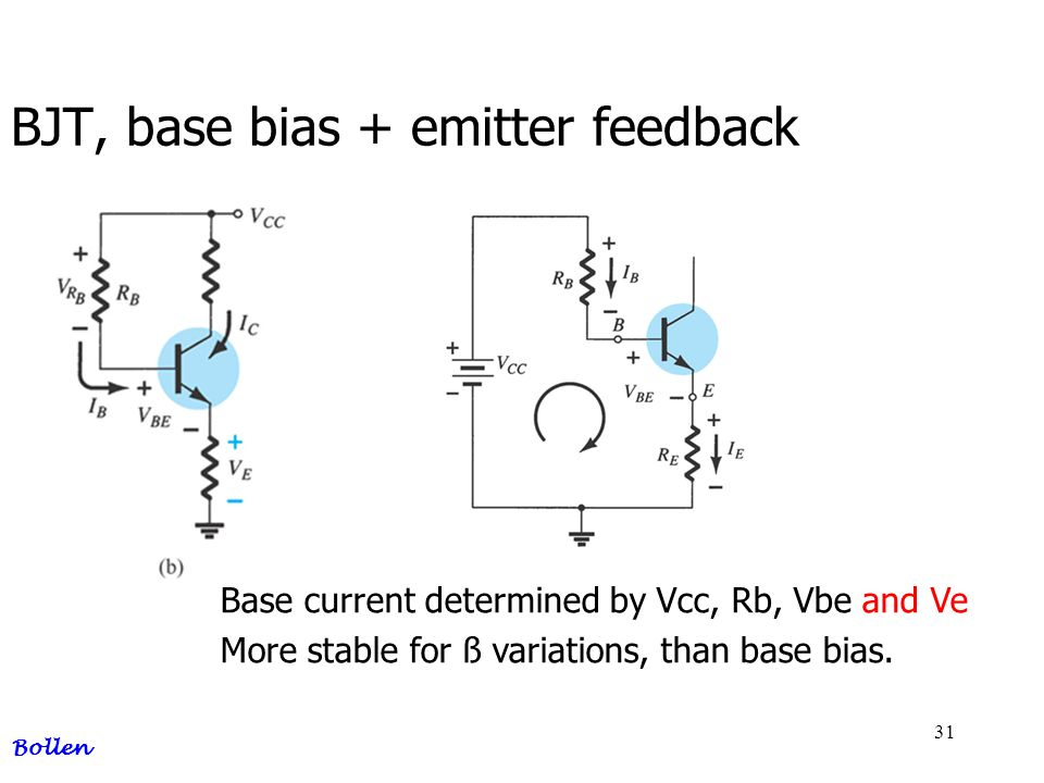 BJT, base bias + emitter feedback