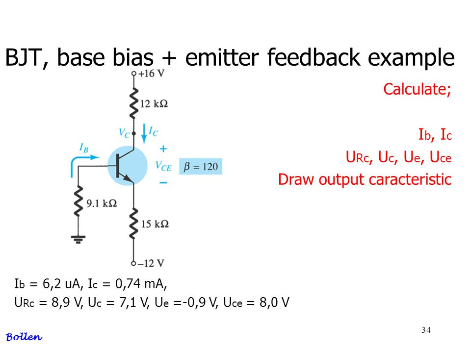 BJT, base bias + emitter feedback example